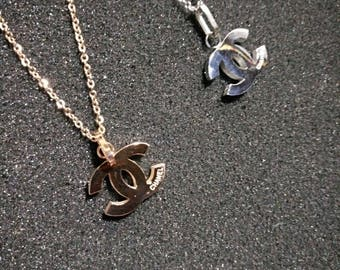 2 colors CC necklace titanium steel long chain charm bead rose gold silver