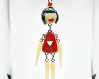 Unique Doll Necklace, Handmade Girl Dollie Accessory, Pendant