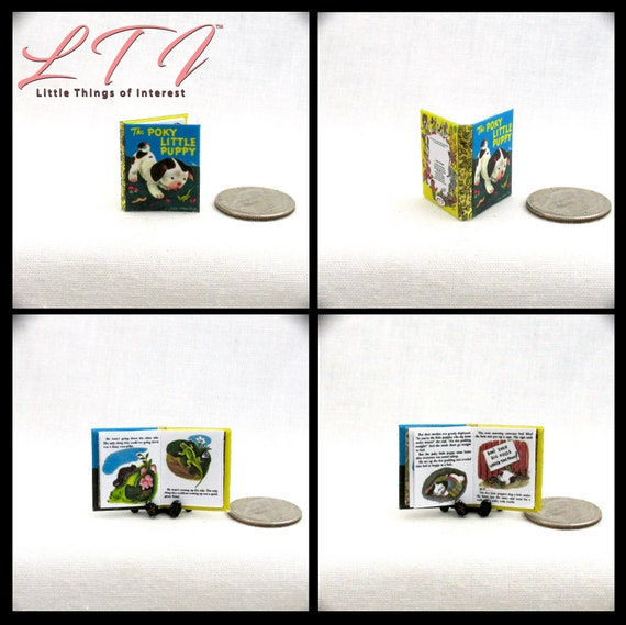 The POKY LITTLE PUPPY Readable Illustrated Miniature Book Dollhouse Book 1:12 Scale Book