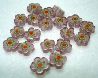 Mauve Orange Green Flower Millefiori Glass 7mm Beads (Qty 19) - B3330