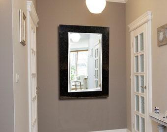 Large Rectangle Mosaic Mirror 90cm x 60cm in Mink & Black