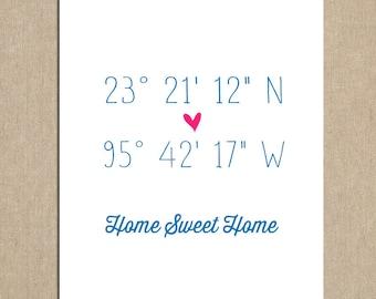 Latitude Longitude with Heart Customizable 8x10 Art Print. Housewarming Gift. New Home. Celebrate Childhood Home. Keepsake Art Print.