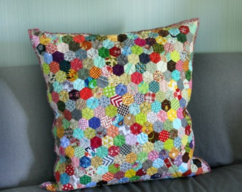 Rainbow pillow Quilted patchwork hexagon decor pillow cover Fairy garden japan pillow case