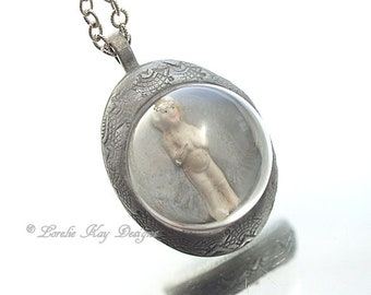 Tiny Frozen Charlotte Doll  Necklace Doll Under Glass Dome One-of-a-Kind Assemblage Pendant Lorelie Kay Original