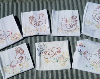 On the Farm Chicken and Rooster Tea Towels