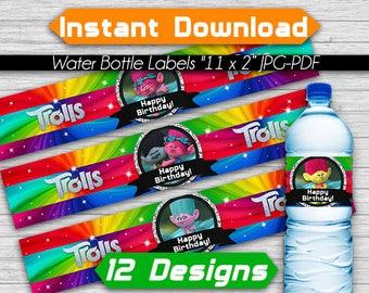Trolls Poppy Rainbow Water Bottle Labels, Instant Download, Pdf jpg