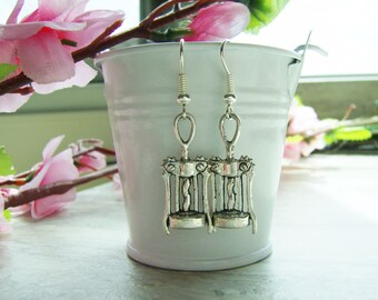 Metal corkscrew wine charm earrings - wine themed jewelry - wine corkscrew earrings - wine themed earrings - wine charms - zinc alloy charms