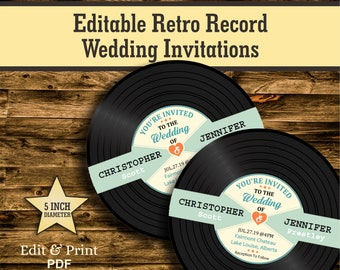 Vinyl Record Wedding Invitation Template,Retro Wedding Invitations,Musical Wedding Invitations, unique wedding invitation download,#RW-278
