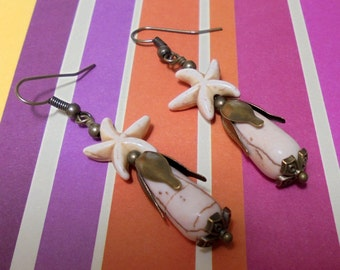 Ivory and Brass Starfish Earrings (2630)