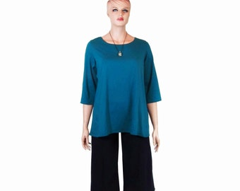 Womens Scoop Neck Shirt-Tunic-Tee-Made to Order-Custom Size,Sleeve Length and Color- Hand Dyed Bamboo/Organic Cotton Jersey-XXS to Large