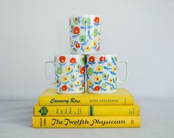 1970s vintage mugs / pop art floral mugs / Fleurette / set of 3