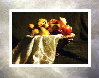 The Fruit Bowl. A Still Life Photograph Note Card Bi-fold, Blank Note Cards. Seven Inches by Five Inches.