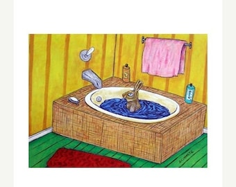 bunny art - Bunny Rabbit Taking a Bath Animal Art Print - bunny gift