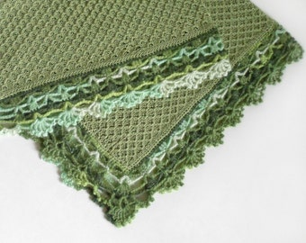 Knitted Baby Blanket,Green, Cotton Baby Blanket, 100% Natural, Lace Crochet Blanket, Baby Car,Travel Blanket, Shower Gift