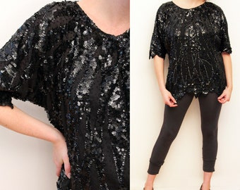 Vintage Sequin Beaded Trophy Top, Black Trophy Blouse, Club Evening Cocktail Shirt, Scalloped Zig Zag detail