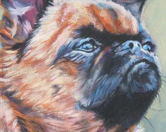 Brussels Griffon dog art portrait CANVAS print of LA Shepard painting 12x16