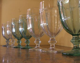 Set of Eight (8) Vintage 1960s or 1970s Libbey Duratuff Ice Tea Goblets / Glasses