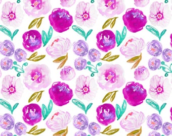 Baby Swaddle, Crib Sheet, Baby Blanket | Floral Baby Bedding, Floral Crib Sheet, Floral Swaddle, Floral Baby Blanket, Purple Floral, Aqua
