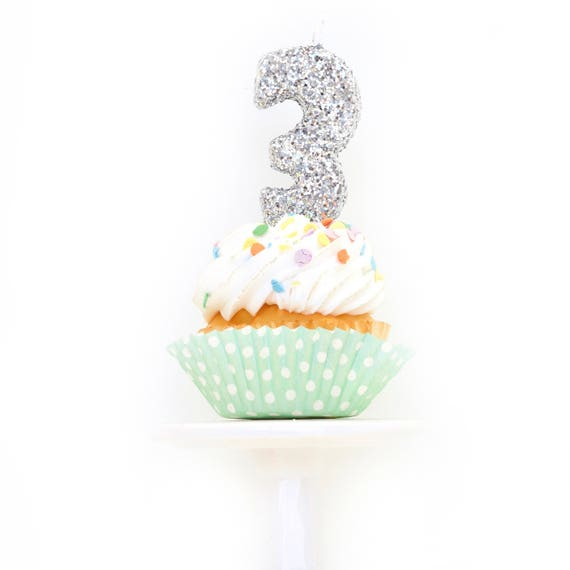 "3"" Number 3 Candle, Giant 3 Candle, Large Birthday Silver Candle, Birthday Glitter Candle, Silver Party Decor, Anniversary, Boys Birthday"