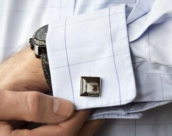 Men's cufflinks - Techie cufflinks - Brown / Black Circuit board - Geeky Cufflinks - Recycled computer - ReComputing