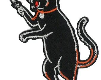 "3.5"" High Stabby Cat Iron-on Patch dark humor Switchblade knife Dagger Black Panther HOrror Punk Goth Gothic Rocker Milspec Swat BSA LowBrow"