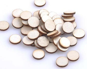 20 cabochons pastilles fine raw wood blank 10mm