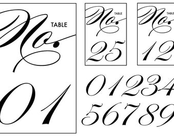Black & White Table Numbers - Instant Download DIY