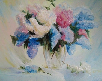 Bouquet of lilac in the vase oil painting