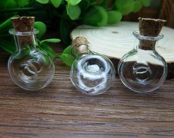 5pcs 10x20x25mm Handmade Clear Glass Bottles  Clear Glass Globe/ Glass Bottle/ Glass Bulbs  N123