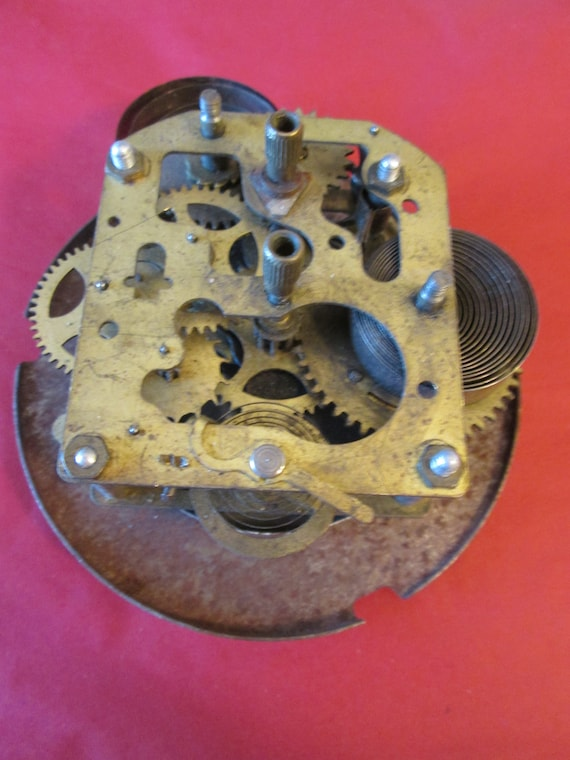 """1  4"""" Old, Tarnished and Rusty Brass and Steel Partial Clock for your Clock for your Clock Projects, Steampunk Art,"""