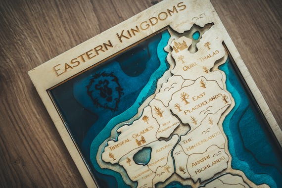 Eastern kingdoms map wood and resin world of warcraft wooden gumiabroncs Choice Image