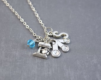 Bakers Necklace - Kitchen Jewelry - Baking Necklace - Personalized Necklace - Silver Initial Necklace - Food Necklace - Mixer Jewelry