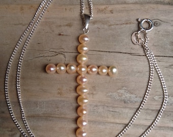 Real pink Pearl cross and sterling silver chain