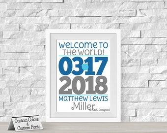Printed Welcome to this World Baby Birth Date Print - Nursery Art - Baby Name Room Decor