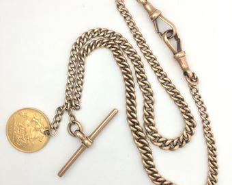 Edwardian 9CT Rose Gold Double Albert Watch Chain Necklace with T Bar and 1915 22CT Gold Half Sovereign