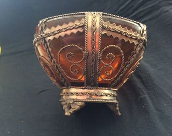 Vintage Glass Caged Open Sugar Bowl, Unique Brown Glass Bowl, Candy Bowl, Ornated, Filigree Metal Work - 1950