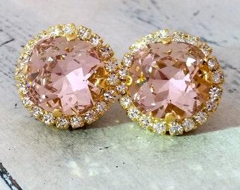 Blush earrings,blush pink stud earrings,blush pink bridal earrings,blush pink bridesmaid earrings,crystal studs,Swarovski,halo earrings
