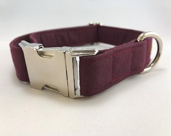 Burgundy Dog Collar· Maroon Collar · Girl Dog Collar · Boy Dog Collar · Chic Dog Collar · Preppy Dog Collar · Metal Buckle Collar