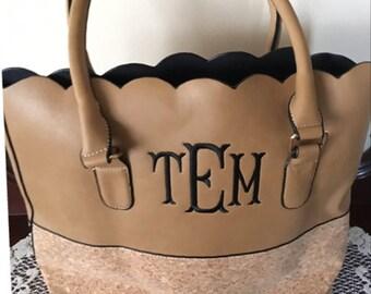 Monogram Tote, Monogram Tote Bag, Scalloped Faux Leather Tote with Cork, Cork Tote