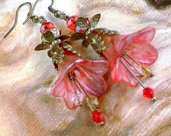Lucite Earrings, Vintage Style Earrings, Hand Painted Earrings, Boho Earrings, Lucite Flower Earrings, Red Flower Earrings, Gypsy,  Boho