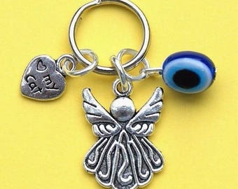 Cat Collar Charms with Evil Eye Protection Charm, Angel & Love My Cat Heart New LB16