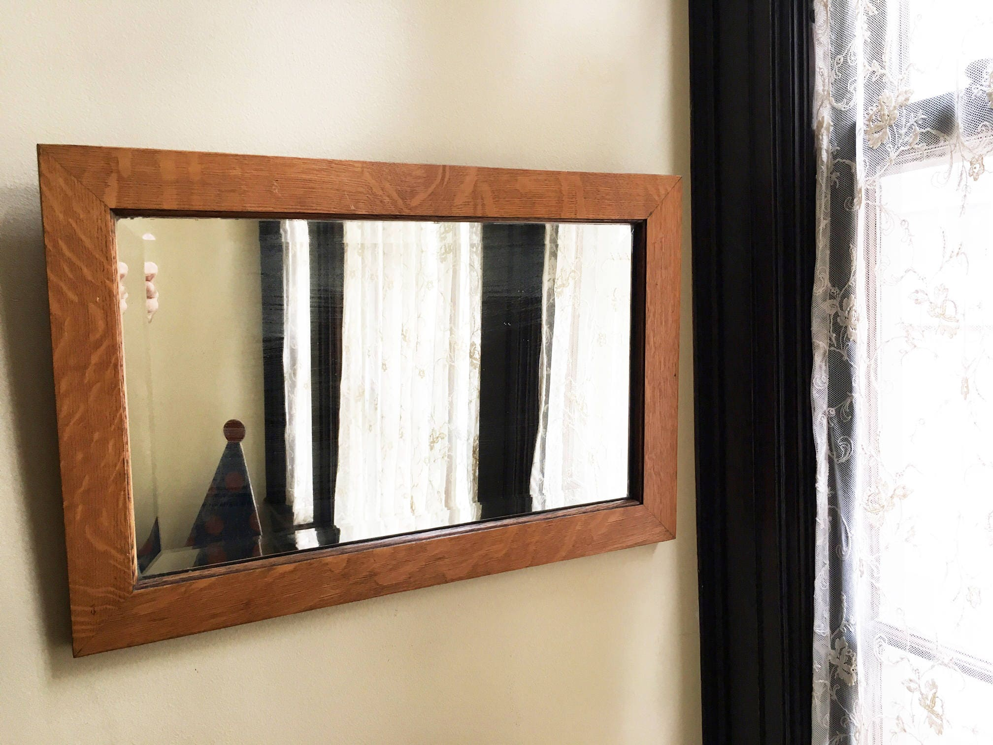 vintage mirror wall mirror wood mirror beveled mirror hanging