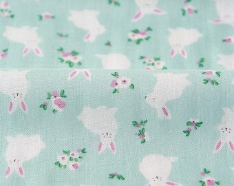 Double Gauze Fabric Rabbit Mint By The Yard