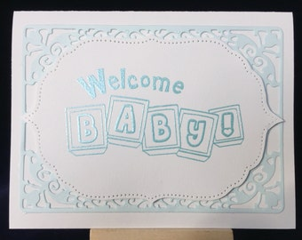 Welcome Baby card, baby boy card, baby blue card, unique card, luxury card,  beautiful card, special baby card, new baby card
