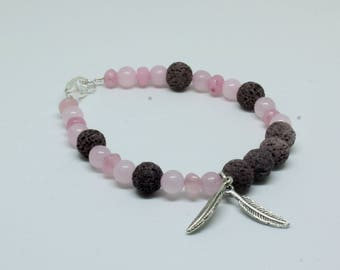 Diffuser Bracelet Essential Oil Bracelet Aromatherapy Rose Quartz Gemstone Pink Jade Gemstone Bracelet