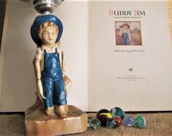 Fishing Boy Vintage Lamp Turned into Nightlight / Ceramic Boy Lamp Fishing Overalls Nightlight for Boy's Room Nursery Burlap Shade