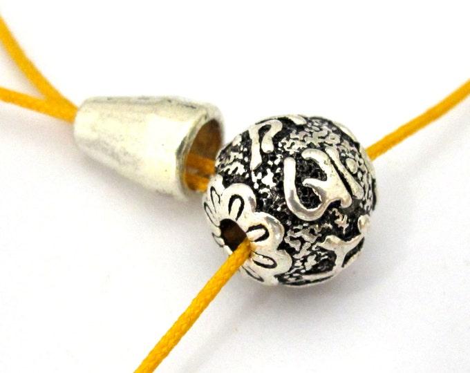 1 Guru bead set - 12 mm size Tibetan 3 hole Guru bead with Om mantra antiqued silver tone plated with column bead - GB038