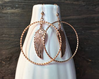 Unique rose gold earrings, rose gold wing earrings