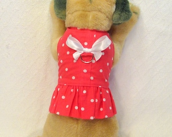 Hot Pink with White Polka Dots Dog Harness Dress Size XXSmall Teacup