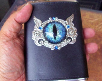 Steampunk Dragon Eye Flask (F705) Blue Silver Sparkle Hand Painted Eye, 8 Oz Stainless Steel, Leather Wrap, Silver Plated Hardware, Crystals
